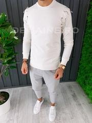 Bluza barbati slim fit alba premium ZR A6628 108-2