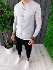 Bluza barbati slim fit gri ZR A6271 D8-1