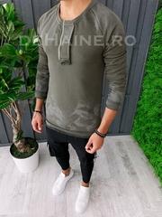 Bluza barbati slim fit kaki ZR A6235 T3-3