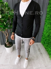 Bluza barbati slim fit neagra ZR A6270 O2-3