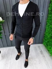 Bluza barbati slim fit neagra ZR A6444 O2-3
