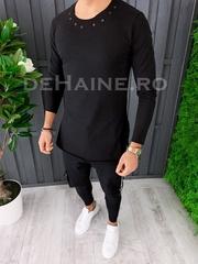 Bluza barbati slim fit neagra ZR A6857 94-4