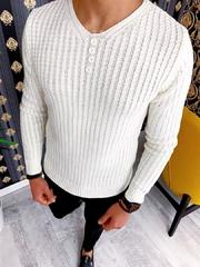 Pulover barbati alb slim fit ZR A2889 J3-2