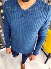Pulover barbati albastru slim fit ZR A2890 102-5