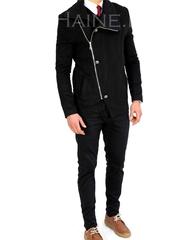 Palton barbati iarna slim negru 7705 S29