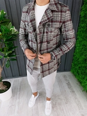 Palton barbati primavara in carouri slim fit A6509