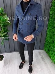 Palton barbati primavara slim fit albastru A6650 S35