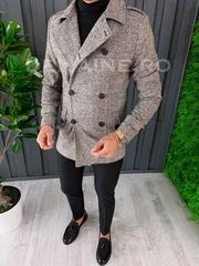 Palton barbati primavara slim fit in carouri A6641