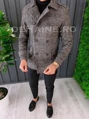 Palton barbati primavara slim fit in carouri A6642 S36