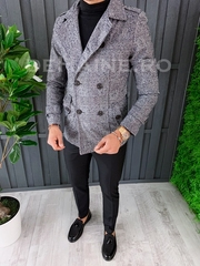Palton barbati primavara slim fit in carouri A6649