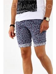 Pantaloni barbati scurti cu imprimeu + CUREA CADOU A1807 X16-1/2