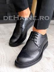 Pantofi barbati negri din piele naturala A3680