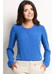 Bluza albastra decolteu rotund Olga