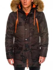 Geaca pentru barbati de iarna maro camuflaj impermeabila fermoar model slim buzunare laterale c358