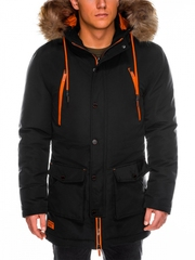 Geaca pentru barbati de iarna negru impermeabila fermoar model slim buzunare laterale c358