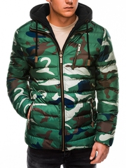 Geaca pentru barbati verde camuflaj impermeabila fermoar model slim gluga si pieptar detasabile c384