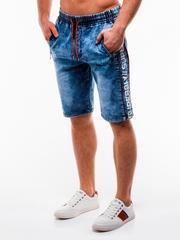 Blugi scurti pentru barbati albastri casual imprimeu lateral w135