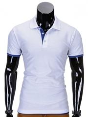 Tricou pentru barbati polo alb albastru simplu slim fit casual S758