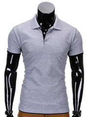 Tricou pentru barbati polo gri deschis simplu slim fit casual S758