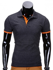 Tricou pentru barbati polo gri inchis simplu slim fit casual S758