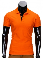 Tricou pentru barbati polo portocaliu simplu slim fit casual S758