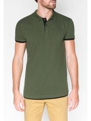 Tricou pentru barbati polo verde inchis simplu slim fit casual S758