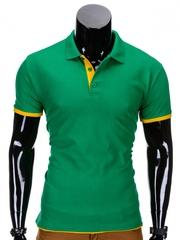Tricou pentru barbati polo verde simplu slim fit casual S758