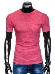 Tricou pentru barbati rosu buzunar piept slim fit mulat pe corp bumbac S885