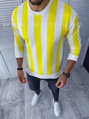 Bluza barbati alba/galbema slim fit B3212 8-3