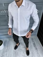 Camasa barbati alba cu butoni slim fit B1368 K1-1