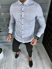 Camasa barbati eleganta cu imprimeu slim fit A1873