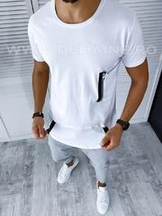 Tricou barbati alb slim fit A9274 P15-2