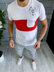 Tricou barbati alb slim fit B1710 P5-3*