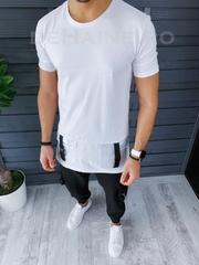 Tricou barbati alb slim fit ZR Y003 P4-1
