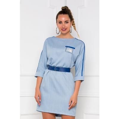 Rochie Carina bleu lejera cu nasturi decorativi la spate