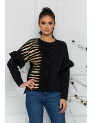 Bluza LaDonna neagra cu volane si insertii din piele ecologica