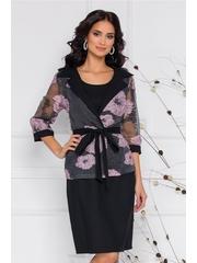Compleu Renata cu rochie neagra si bolero cu imprimeu floral roz
