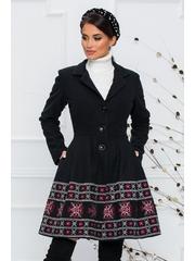 Palton Ella Collection Sonia negru cu broderie traditionala rosie cu gri