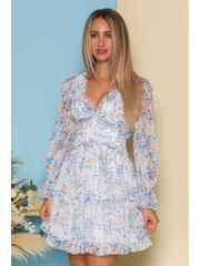 Rochie Annie alba cu imprimeuri florale bleu