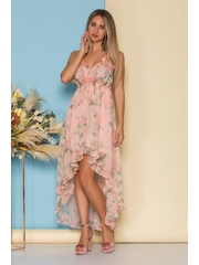 Rochie Ava roz somon cu lungime asimetrica si imprimeuri florale
