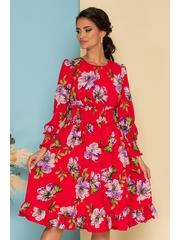 Rochie Dara rosie cu imprimeuri florale mov