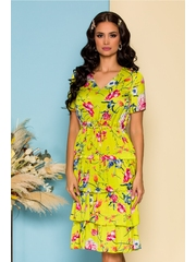 Rochie Deby vernil cu imprimeuri florale colorate si volane