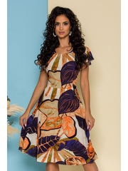 Rochie Deny bleumarin cu imprimeuri exotice beige si orange