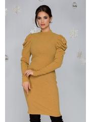 Rochie Elisa galben mustar din tricot cu umeri bufanti