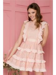 Rochie Gabriela roz pudrat din dantela cu volanase