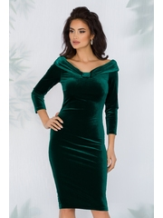 Rochie Ginette verde smarald din catifea