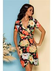 Rochie Iana neagra cu imprimeuri florale orange