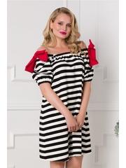 Rochie LaDonna cu imprimeu in dungi alb-negru si elastic la decolteu