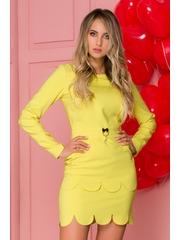 Rochie LaDonna galben cu dublu strat la fusta si design deosebit