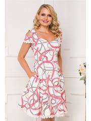 Rochie MBG alba cu imprimeu chain roz-somon